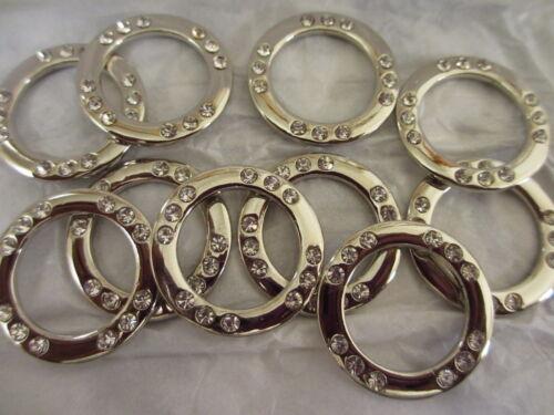 Nickel Finish Metal Flat  O Rings with Rhinestones 10 Pieces