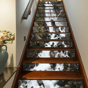 3D Rock Lotu Fish Waterfall Self-adhesive Staircase Stickers Stair Riser Sticker