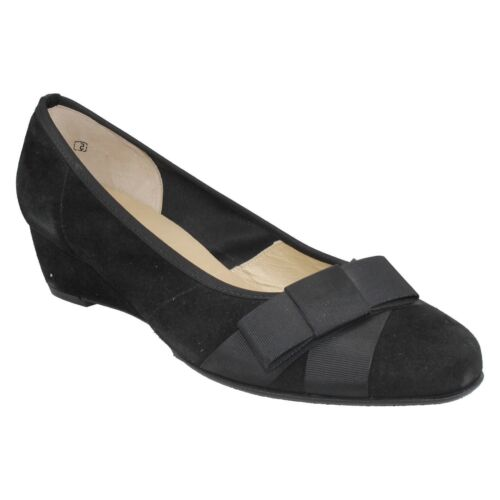LADIES PETER KAISER BLACK SUEDE BOW FRONT SLIP ON CASUAL SMART SHOES SIZE JASI
