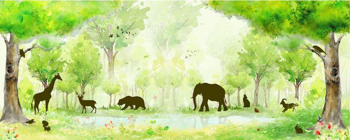 3D Waldelefanten Giraffe 7 Fototapeten Wandbild Fototapete BildTapete Familie DE