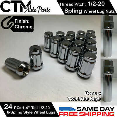 32PC CHROME 1//2-20 OPEN END WHEEL LUG NUTS FIT DODGE RAM CHEVY GMC JEEP MORE