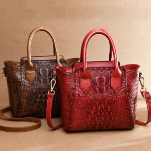 Womens-PU-Crocodile-Embossed-Handbag-Leather-Satchel-Tote-CrossBody-Shoulder-Bag
