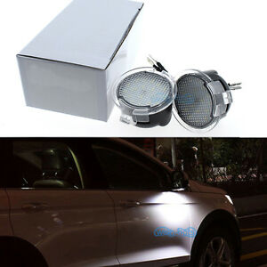 2pc White 18msd Led Side Mirror Puddle Lights For Ford