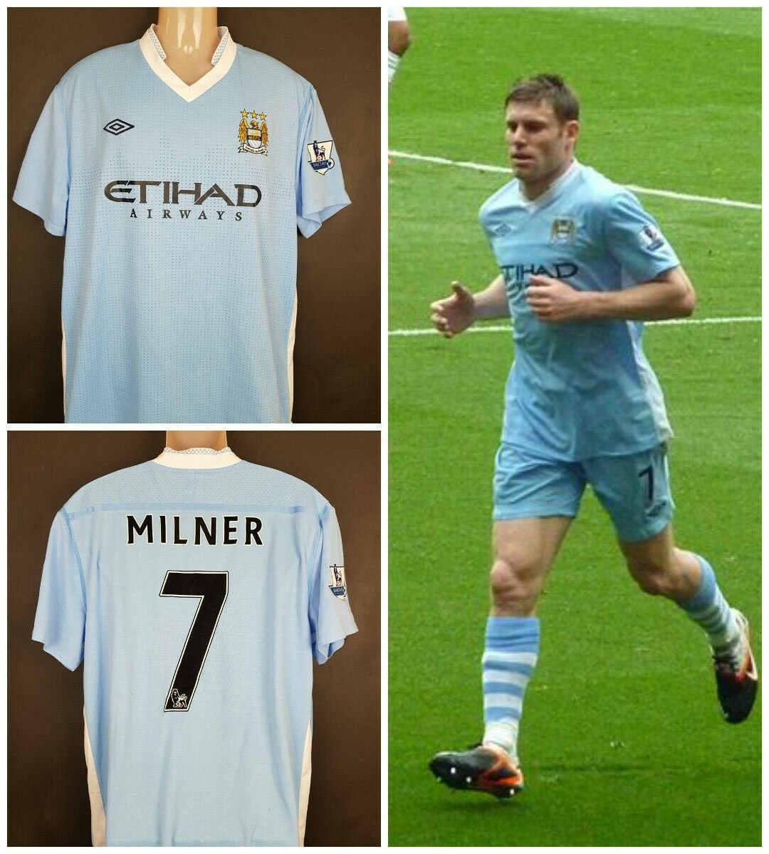 412a6eb87 Manchester City 2009 10 Umbro James Milner XL soccer shirt jersey home bluee