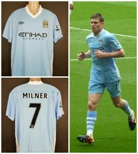 size 40 c8660 53ca9 Details about Manchester City 2009/10 Umbro #7 James Milner XL soccer shirt  jersey home blue