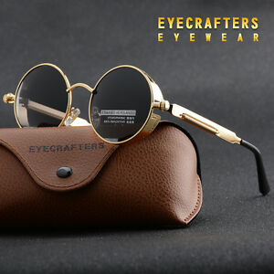 Vintage Polarized Steampunk Sunglasses Fashion Round Mirrored Retro Sunglasses 3