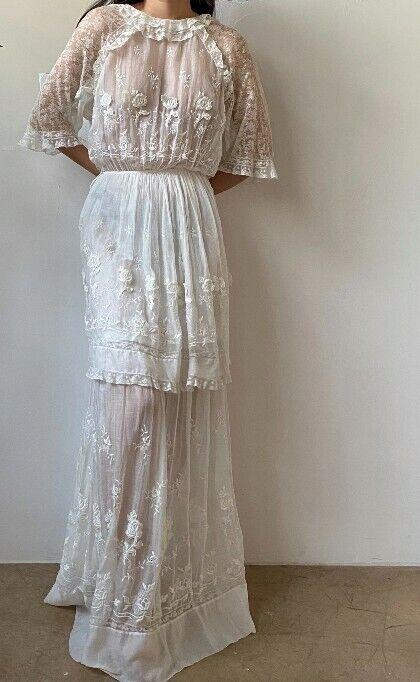 Antique cotton embroidered Edwardian dress - image 3