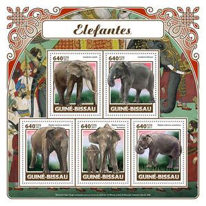 Guinea-Bissau-2017-MNH-Elephants-5v-M-S-Mammals-Wild-Animals-Stamps