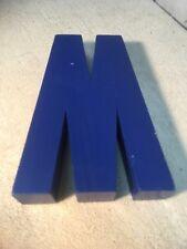 Letter W M Big Vtg Wood Block Type Italic Font 7in X 55in X 15in Blue