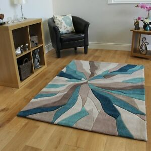 Modern Teal Blue Abstract Area Rugs New