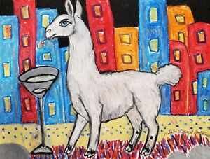 Llama-drinking-a-Martini-Pop-Art-ORIGINAL-Pastel-Painting-9x12-Signed-by-Artist