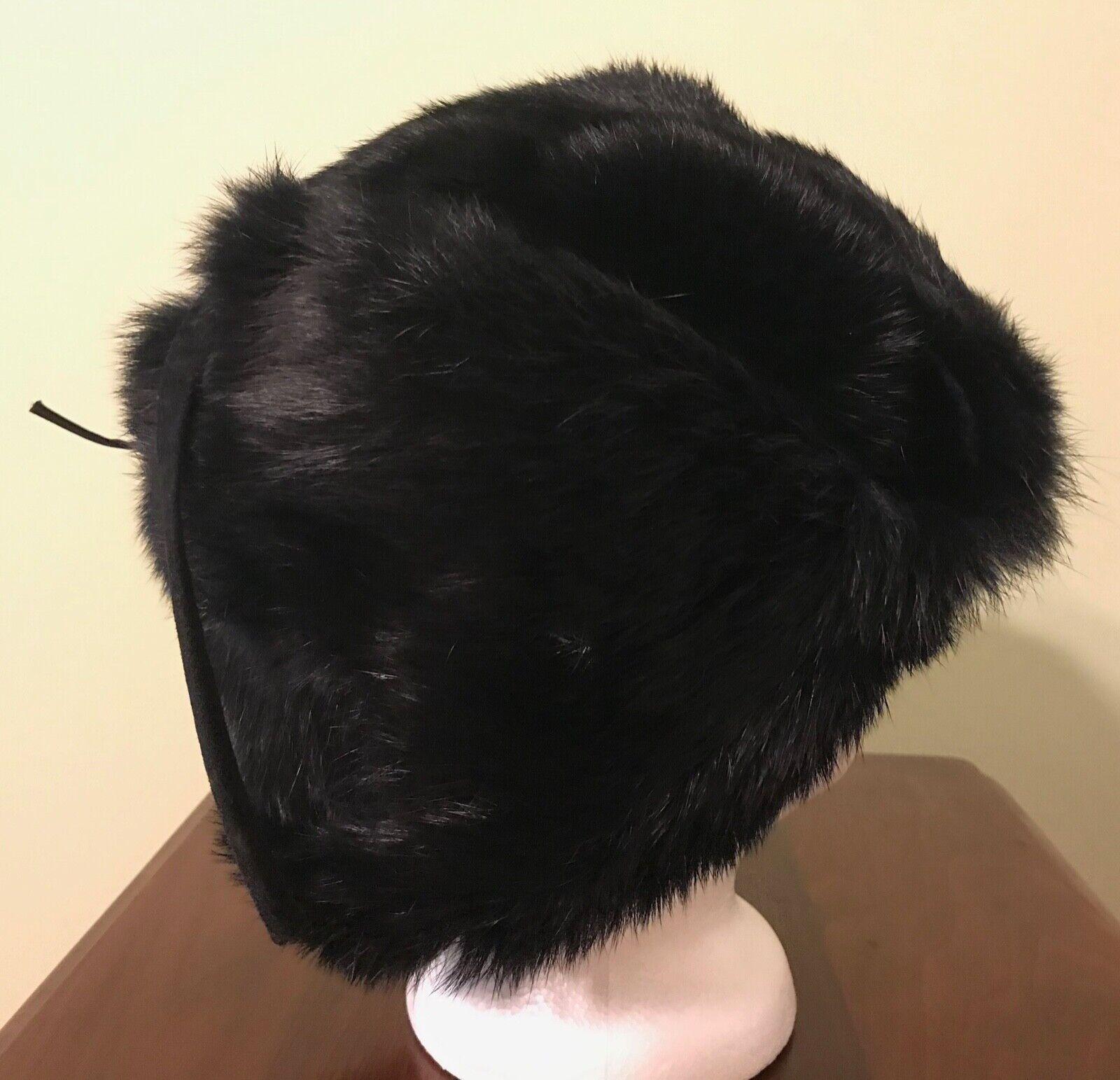 Vintage Black Mink Ladies' Hat with Flap Ear Muffs - image 3