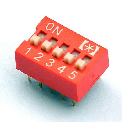 10x  5 Way DIP Switch, 5 Position 10 pin PCB Mountable