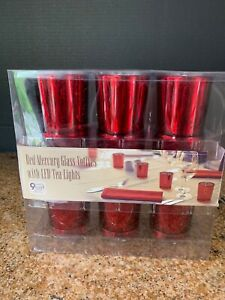 Red-Mercury-Glass-Votives-LED-Tea-Lights-Set-of-9-Batteries-Included-Holiday