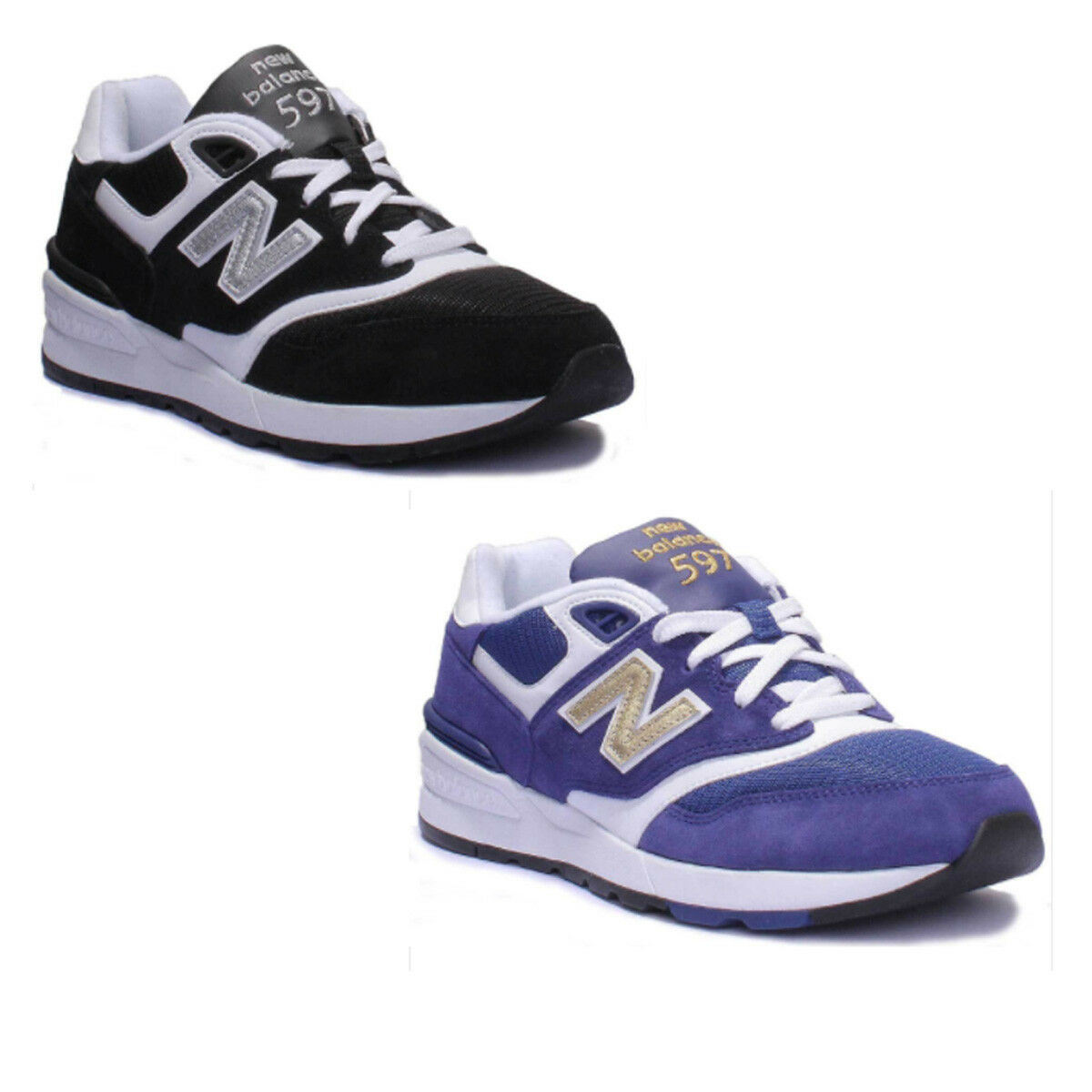 New Balance ML597 Hommes Noir Blanc Divers Baskets 7 - 12