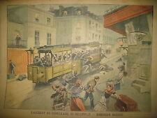 FUNICULAIRE DE BELLEVILLE CONGRES DE VERSAILLES JOURNAL LE  PETIT PARISIEN 1906