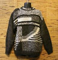 Trader Bay Sweater Men's L Hand Knit Warm Chunky Brown & Ivory Crewneck