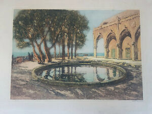 Andre Devambez French Large Aquataint Etching Large Castel Ocean Scenery Sea