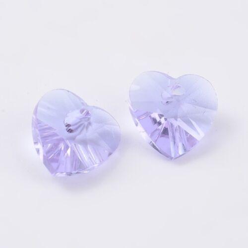 10 x Verre Cristal à Facettes Lilas Coeur Charms Pendants 10 mm Violet