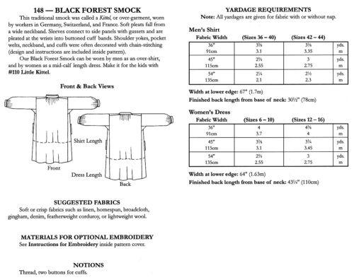 Folkwear Black Forest Smock Kittel Mens Shirt or Ladies Dress Sewing Pattern 148