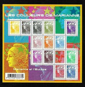 Bloc-Feuillet-2009-N-F4409-Timbres-France-Les-Couleurs-de-Marianne-Cote-36