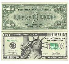 25 NOVELTY FAKE TRILLION DOLLAR BILLS joke play bill statue of liberty NEW MONEY