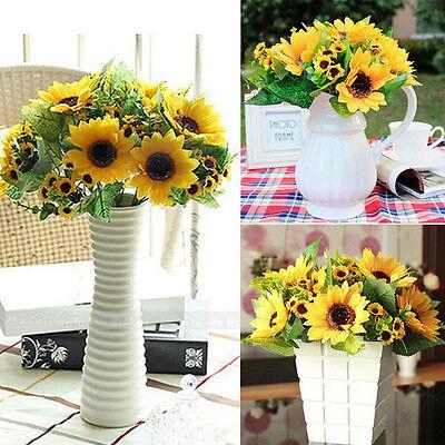14Heads Beauty Fake Sunflower Artificial Silk Flower Bouquet Home Party Decor