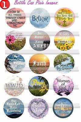 Religious Images God Jesus Faith Sunday School  15-150 Precut Bottle Cap Images