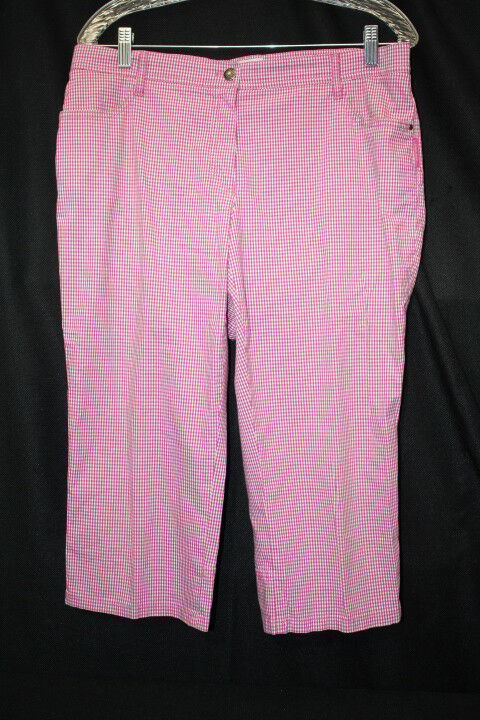 BRAX SPORT Pink & White Gingham Stretch Cotton Blend Capris Womens Size 12S-B8