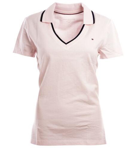 Tommy Hilfiger Damen V-Neck Shirt T-Shirt Polokragen Poloshirt rosa  XXS-XXL