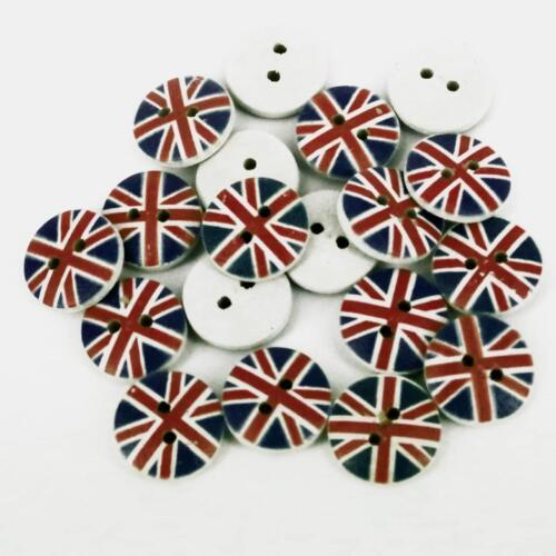 12 mm CERCLE BLANC UNION JACK UK en bois Boutons 2 Trous Couture Manteau Craft x 10 B33