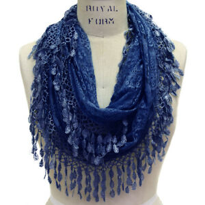 Scarfand's Elegant & Delicate Lace Infinity Scarf with Tear-drop Fringes