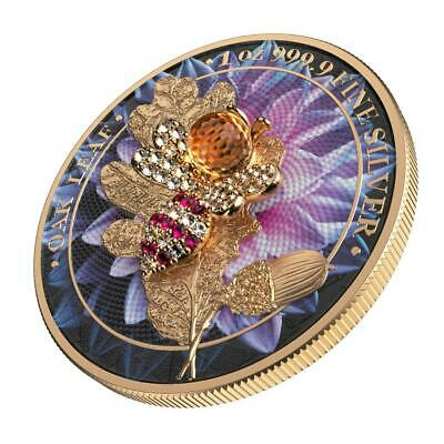 Germania 2019 5 Mark Oak Leaf Bejeweled Tortoise 1 Oz Silver Coin