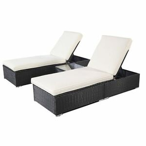 Wicker rattan lounge sofa chaise chair bed set patio for Cane chaise lounge furniture