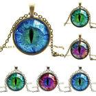 Cabochon Glass Vintage PURPLE Blue Green Cat Eye Pendant Bronze SILVER Necklace