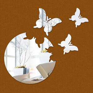 Schmetterling-Spiegel-Set-Deko-Goldspiegel-Kunststoff-PS-mit-Klebepunkt-Schwarz