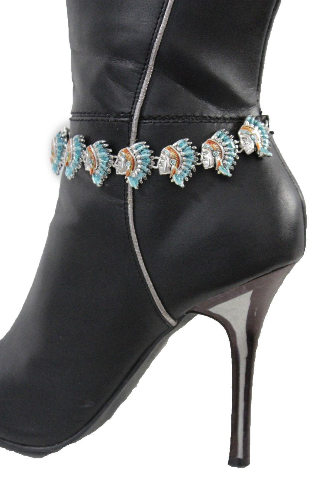 Fun Women Metal Boot Chain Anklet Bracelet Shoe Native Head Charms Bling Jewelry