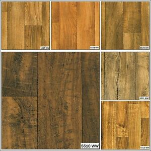 Wood Effect Anti Slip Vinyl Flooring Home Office Kitchen Bathroom