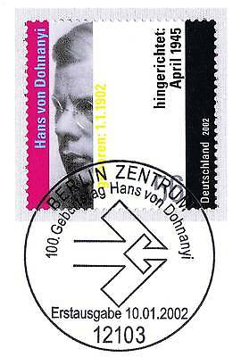 Brd 2002: Hans Von Dohnanyi Nr. 2233 Mit Berliner Ersttags-sonderstempel! 1a!