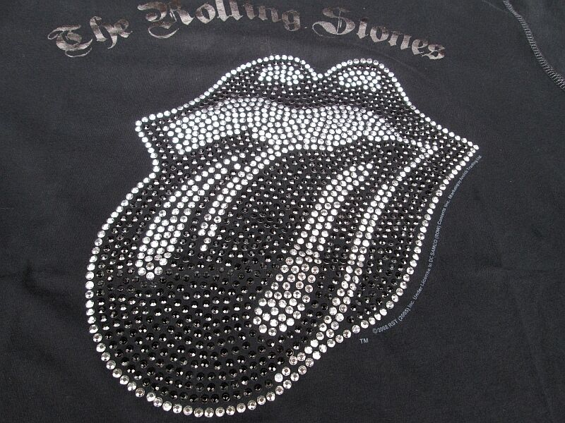 Amplified Amplified Amplified Rolling Stones argentoo Strass lingua Rock Star Vintage T-shirt G.L 52 b65fff