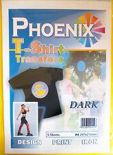 5 Pack Di A4 Ferro Su T-Shirt Trasferire Carta per tessuti scuri per le stampanti a getto d'inchiostro