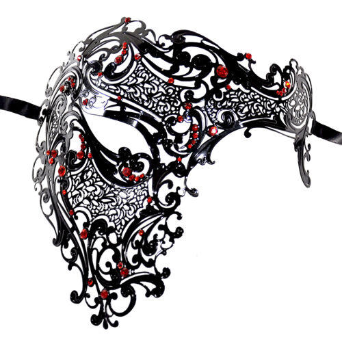 Beautiful Half Skull Laser Cut Metal Venetian Masquerade Mask W// Red Crystals