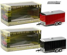 1:64 GreenLight *HITCH & TOW* RED & BLACK *SET* ENCLOSED CAR TRAILER TANDEM AXLE