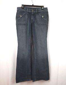 BANANA-REPUBLIC-Womens-Size-6-Blue-Dark-Wash-BOOTCUT-Flared-Striped-Denim-Jeans