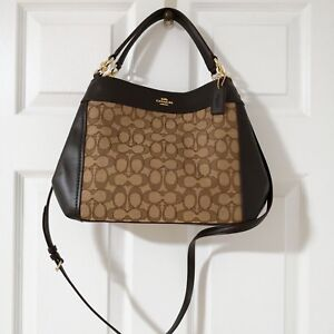 78e3c3f380 NWT COACH Small Lexy Shoulder Bag Signature Jacquard   Leather Brown ...