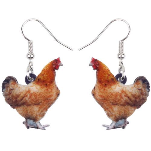 Acrylique Poulet Poule Boucles d/'oreilles grandes longues Dangle Drop Farm Animal Bijoux pour Femmes