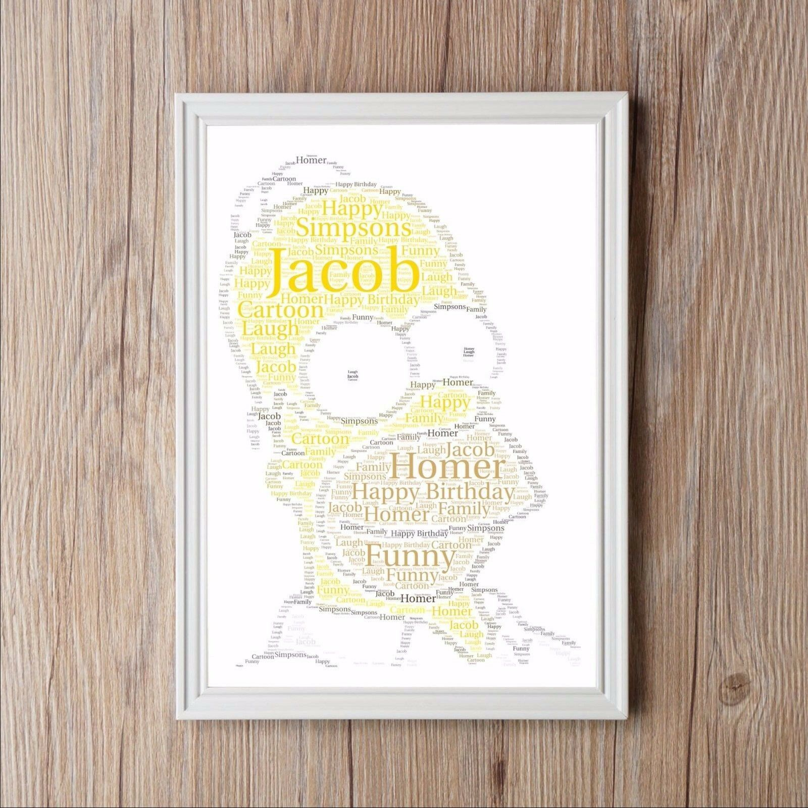 Details About SIMPSONS HOMER Birthday Personalised Word Art Print Gift Dad Grandad Fathers Day