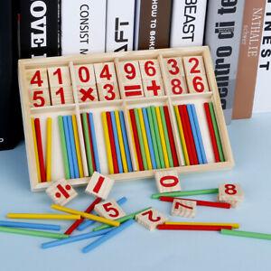 Bambini-Bimbi-Montessori-Legno-Matematica-Numero-Gioco-Bacchette-Puzzle-Presto