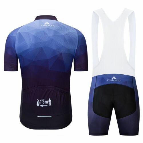 Miloto Men/'s Cycling Bib Kit Reflective Bike Jersey and Bib Shorts Padded Set