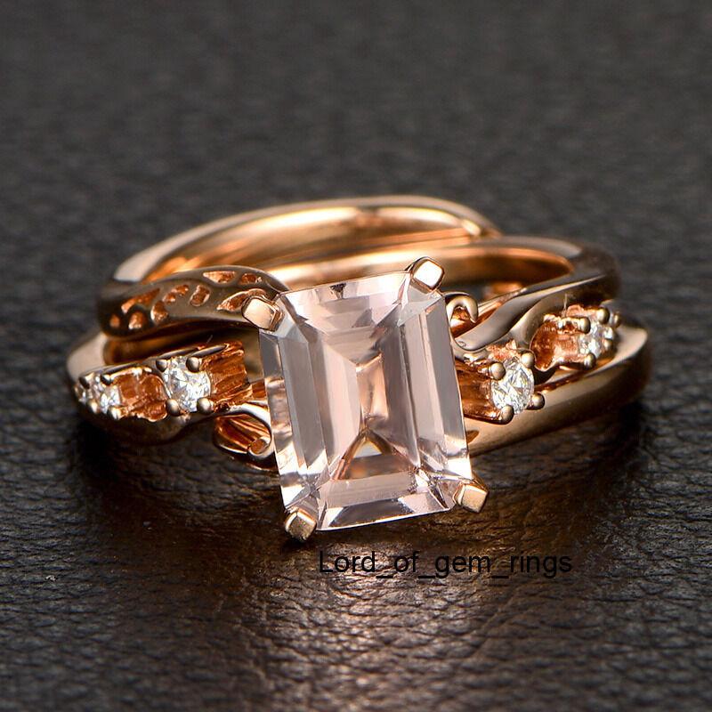 Morganite Diamond Engagement Wedding Ring 14K pink gold 7x9mm Emerald Cut